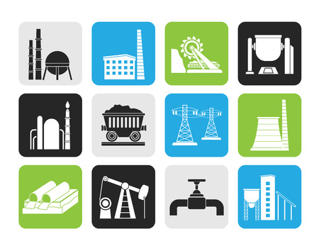 iron ore: Silhouette Heavy industry icons