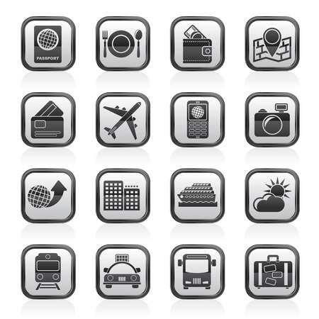car bills: travel, transportation and vacation icons - vector icon set Illustration