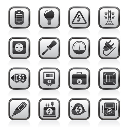energetics: Electricity, power and energy icons - vector icon set