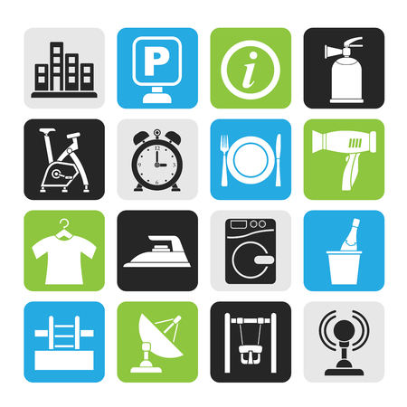 Silhouette Hotel and travel icons - vector icon set Vector