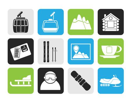 ski pass: Silhouette Ski Track and sport icons - vector icon set Illustration