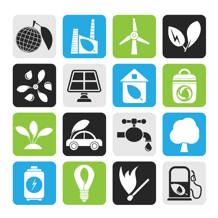 Silhouette Green, Environment and ecology Icons - vector icon set Vector