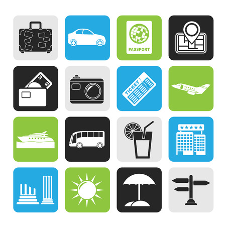 Silhouette Travel and vacation icons - vector icon set Vector
