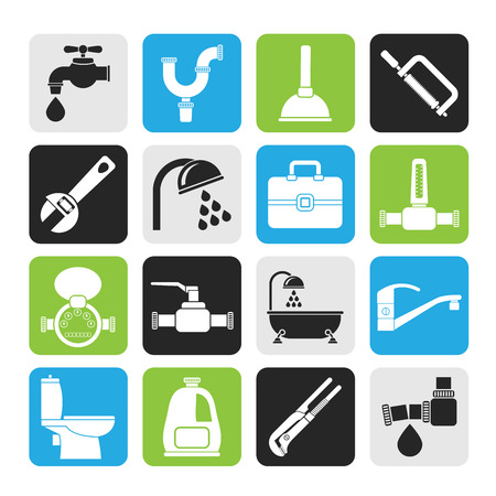 Silhouette plumbing objects and tools icons - vector icon set