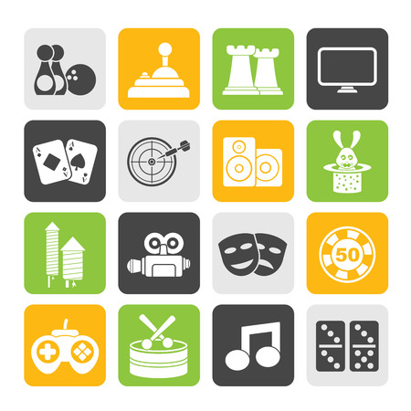 Silhouette entertainment objects icons - vector icon set Vector