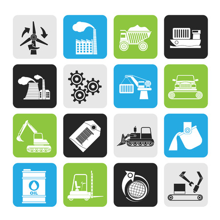 factory line: Silhouette different kind of business and industry icons - vector icon set