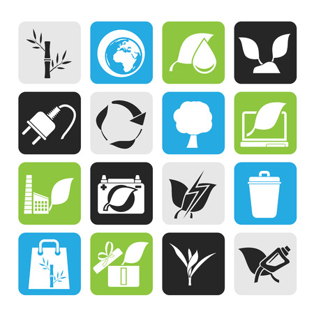Silhouette Environment and Conservation icons - vector icon set Vector