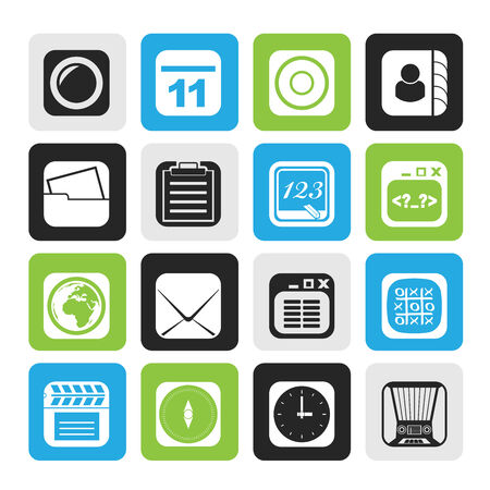 Silhouette Mobile Phone and communication icons - vector icon set Vector
