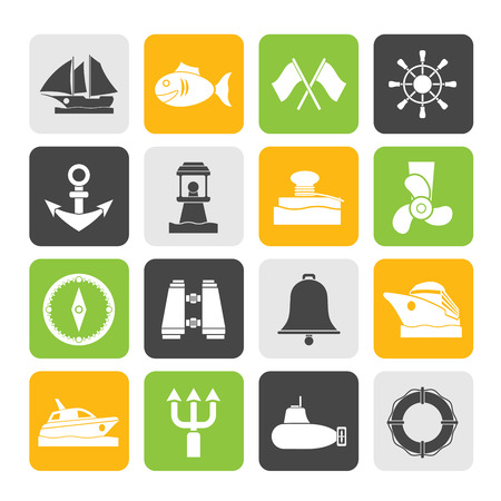 Silhouette Marine, sea and nautical icons  Vector