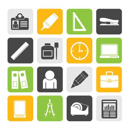correttore: Silhouette di affari e ufficio oggetti icone Vettoriali