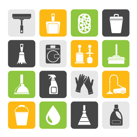 cleaner vacuuming symbol: Silhouette Cleaning and hygiene icons  Illustration