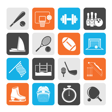 Silhouette Sport objects icons  Vector
