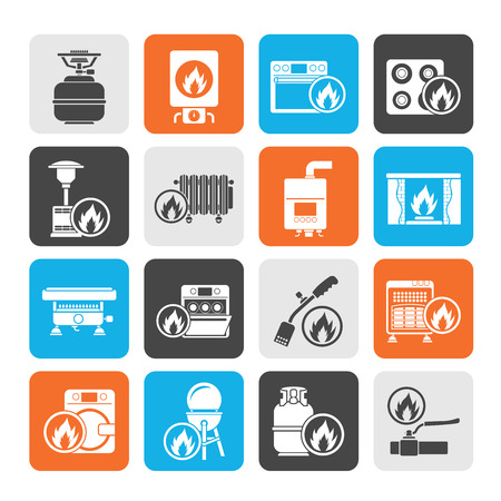 gas fireplace: Silhouette Household Gas Appliances icons