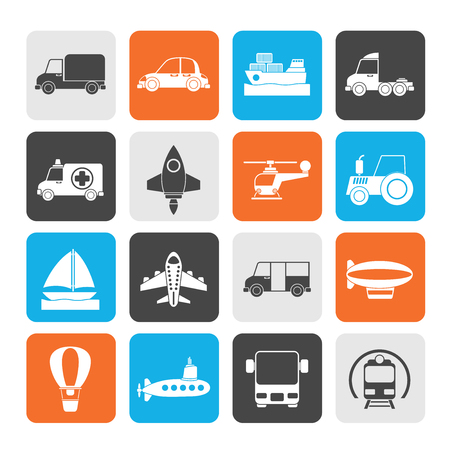 Silhouette Different kind of transportation icons - vector icon set Vector