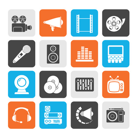 Silhouette Audio and video icons - vector icon set
