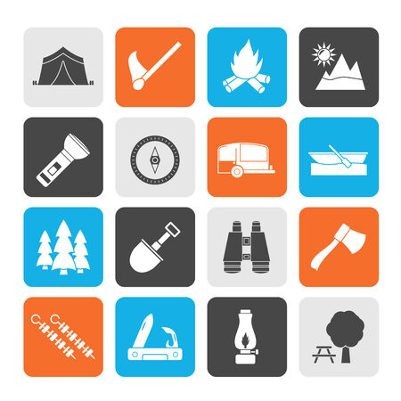 Silhouette Camping, travel and Tourism icons - vector icon set Vector