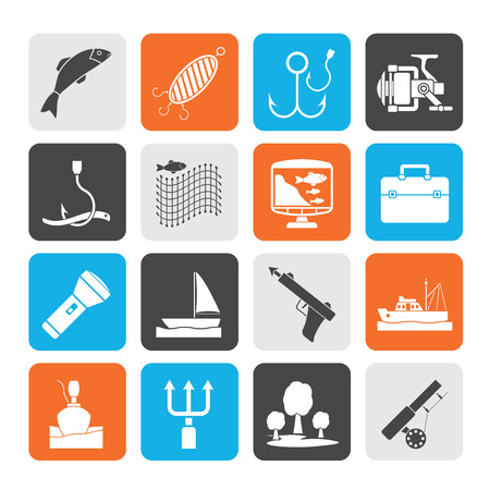 Silhouette Fishing industry icons - vector icon set Vector