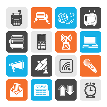 news icon: Silhouette Communication and connection icons
