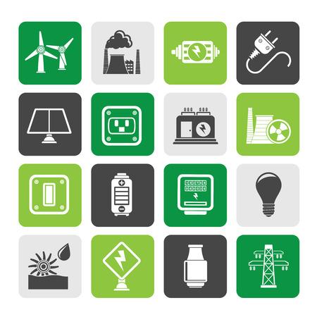 thermal power plant: Silueta de electricidad, la energ�a y la energ�a Iconos