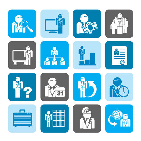 Silhouette Business, management and hierarchy icons - vector icon set Vector