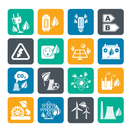 Silhouette Green energy and environment icons - vector icon set Vector