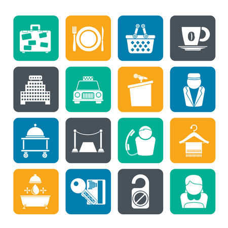 Silhouette Hotel and motel services icons - vector icon set Vector