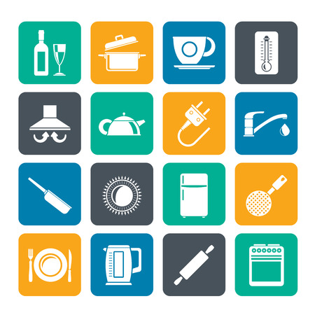 slotted: Silhouette kitchen objects and accessories icons- vector icon set