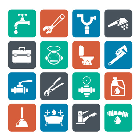 plumbing: Silhouette plumbing objects and tools icons - vector icon set