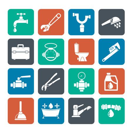 herramientas de plomeria: Silueta de plomer�a objetos y herramientas de iconos - vector icon set