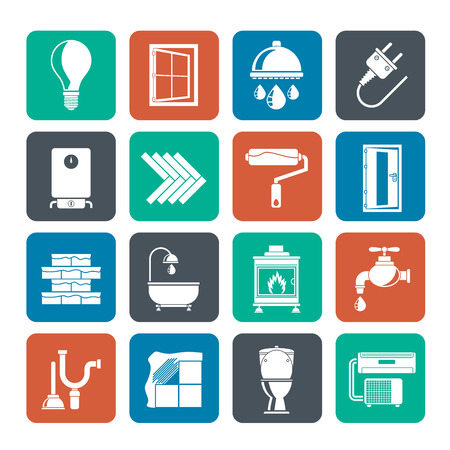 water heater: Silhouette Construction and home renovation icons - vector icon set