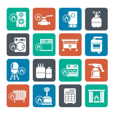 chemin�e gaz: Silhouette gaz appareils m�nagers ic�nes - vecteur ic�ne ensemble Illustration