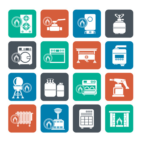 gas fireplace: Silhouette Household Gas Appliances icons - vector icon set