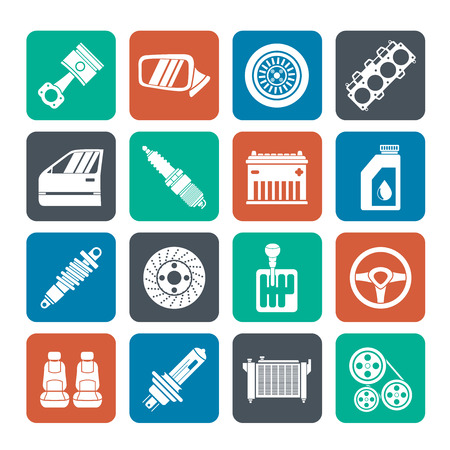 absorber: Silhouette Detailed car parts icons - vector icon set
