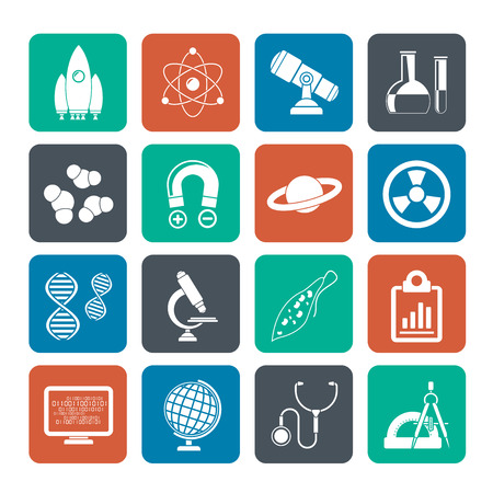 Silhouette Science, Research and Education Icons - Vector Icon set Vector