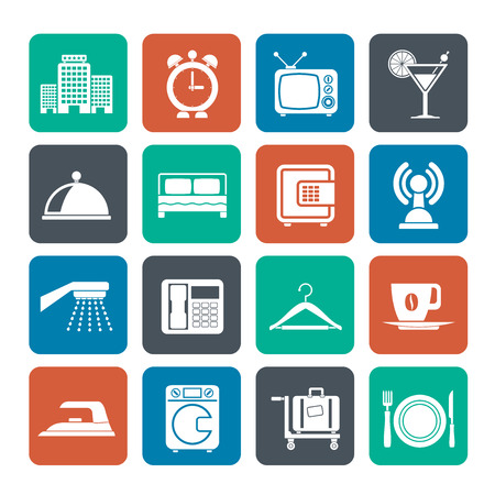 Silhouette Hotel, motel and travel icons - vector icon set