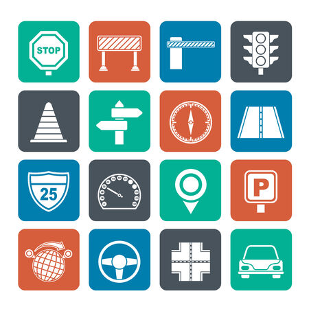 Silhouette Road and Traffic Icons - vector icon set Vector