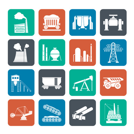coal plant: Silhouette Heavy industry icons - vector icon set