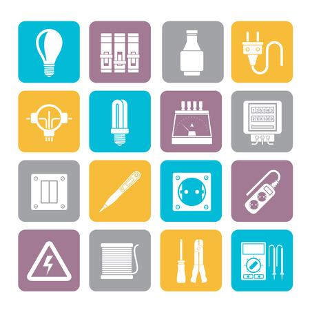 redes electricas: Silueta de dispositivos eléctricos y los iconos de equipo