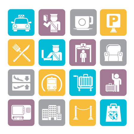 Silhouette Airport, travel and transportation icons Vector