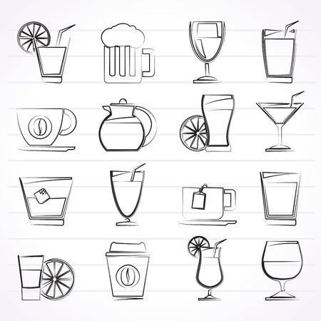 vasos de cerveza: bebidas y bebidas iconos Vectores