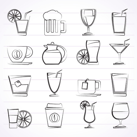 plastic straw: drinks and beverages icons