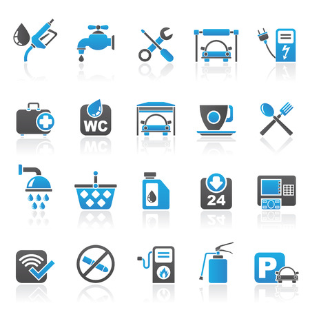 petrol station icons - vector icon set Vector