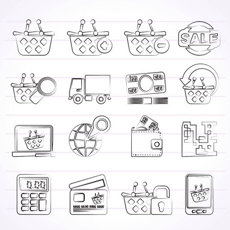 bankcard: shopping and retail icons - vector icon set