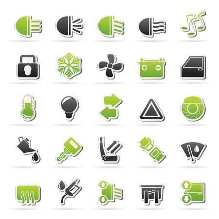 Car interface sign and icons - vector icon set Illustration