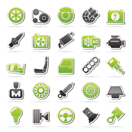 Auto-onderdelen en services pictogrammen - vector icon set