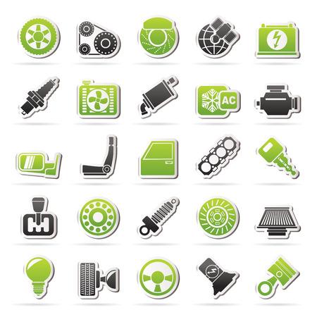 repuestos de carros: Piezas y servicios de coches iconos - vector icon set Vectores