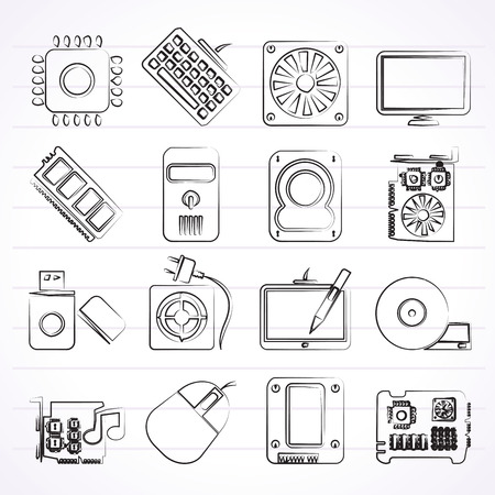 Computer part icons - vector icon set Illustration