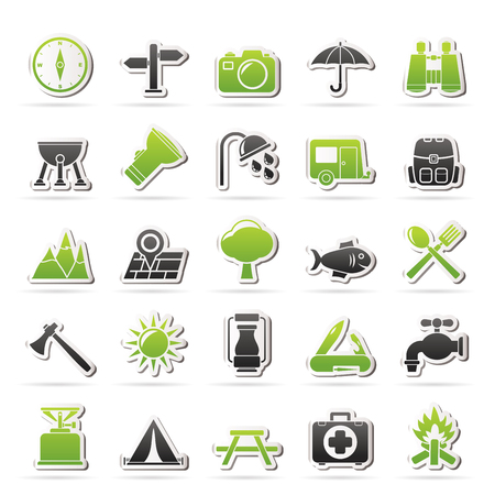 gas barbecue: Camping and tourism icons - vector icon set