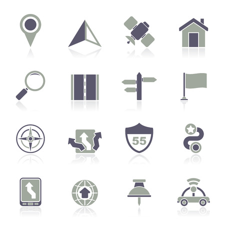 Gps, navigation and road icons - vector icon set Vector