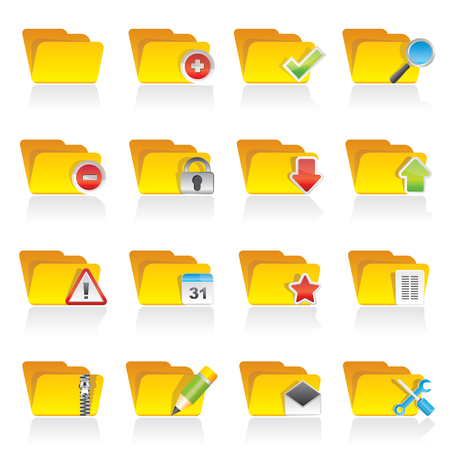 edit button: Different kind of folder icons - vector icon set Illustration